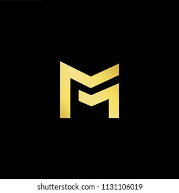 Abstract letter M MM. minimal logo design template. Vector letter logo with gold and black color.