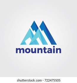 Abstract Letter M For Mountain Logo Template
