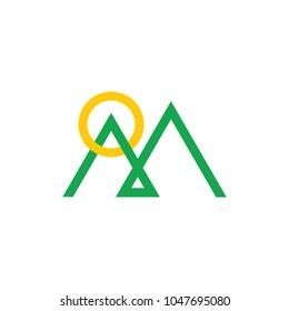 abstract letter m mountain sun line art logo