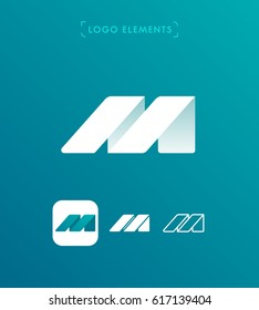 Abstract letter M origami style logo template