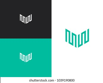 Abstract letter M W logo design template. Simple vector logo in a modern style. Linear creative sign.