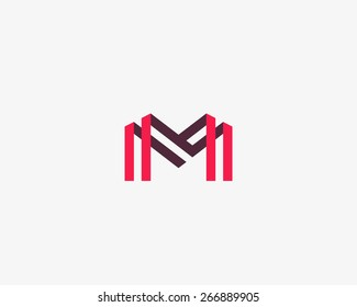 Abstract letter M W logo design template. Colorful creative sign. Vector icon.
