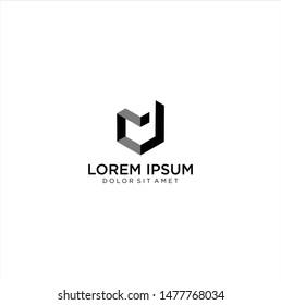 Abstract Letter Md Or Dm Logo Design Template Black Alphabet