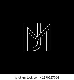 Abstract letter MJ JM. Minimal logo design template. Vector letter logo with white and black color.
