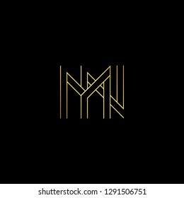 Abstract letter MN NM. Minimal logo design template. Vector letter logo with gold and black color.
