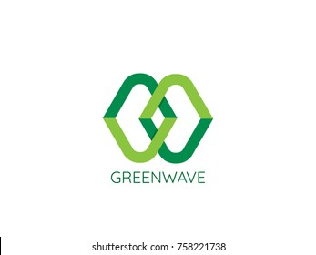 Abstract letter MW chain link logo template. herbal medicine vegan health care design concept vector illustration