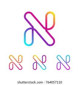 Abstract Letter N Line Monogram Colorful loops logotype, Circle shape, swirl spiral infinity logo symbol, Technology and digital connection