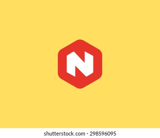 Abstract letter N logo design template. Colorful creative hexagon sign. Universal vector icon.