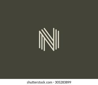 Abstract Letter N logo design template. Line vector symbol. Premium elegant sign mark icon