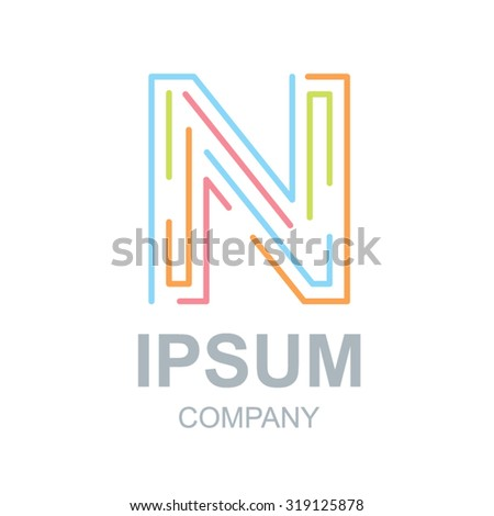 abstract letter n logo design template business colorful stock