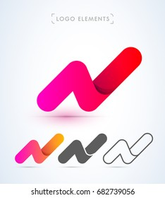 Abstract letter N logo in material design style. Origami paper icon