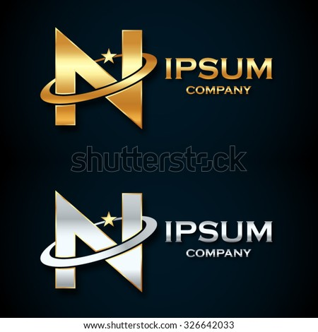 Abstract Letter N Logogold Silver Star Stock Vector Royalty Free