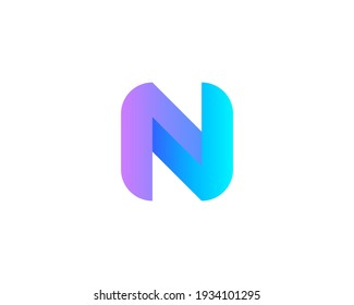 Abstract letter N modern logo icon design concept. Creative bright gradient symbol logotype isolated on white background. Vector illustration.