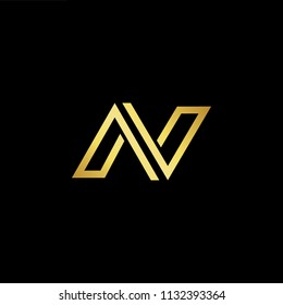 Abstract letter AN NA AV VA. minimal logo design template. Vector letter logo with gold and black color.
