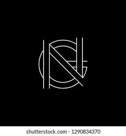 Abstract letter NG GN. Minimal logo design template. Vector letter logo with white and black color.