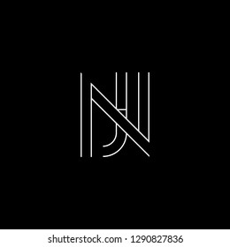 Abstract letter NJ JN. Minimal logo design template. Vector letter logo with white and black color.