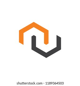abstract letter nu geometric construction shape logo