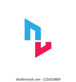 abstract letter nu geometric logo vector
