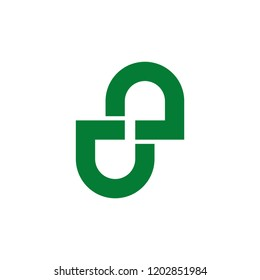 abstract letter nu infinity lines logo vector