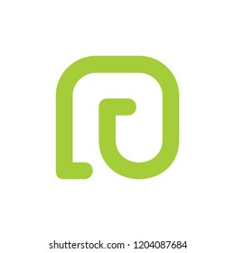 abstract letter nu linear simple logo