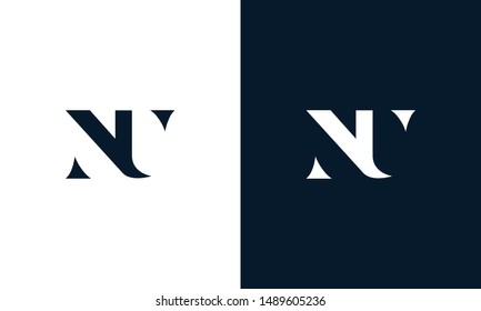 Abstract letter NU logo. This logo icon incorporate with abstract shape in the creative way.