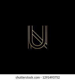 Abstract letter NU UN. Minimal logo design template. Vector letter logo with gold and black color.