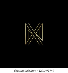 Abstract letter NX XN. Minimal logo design template. Vector letter logo with gold and black color.