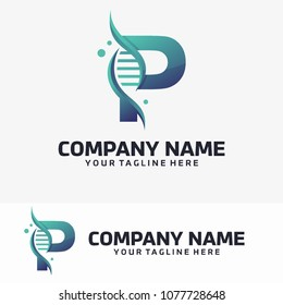Abstract Letter P and Dna Vector Logo