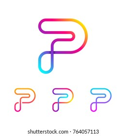 Abstract Letter P Line Monogram Colorful loops logotype, Circle shape, swirl spiral infinity logo symbol, Technology and digital connection