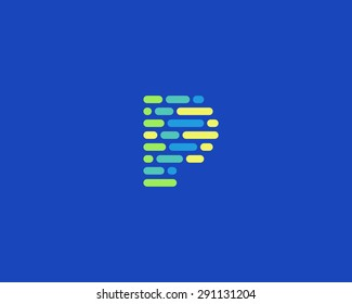 Abstract letter P logo design template.  Dynamic, code vector unusual font. Universal fast moving dots, atoms, blocks, color symbol.