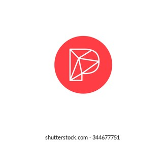 Abstract Letter P Logo Design Template Structure Simple Line Sign Ontact Business