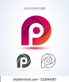 Abstract letter P logo icon set for corporate identity design isolated on white background.