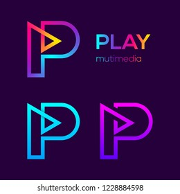 Abstract Letter P Multimedia and Play Looped Line Monogram Colorful logotype, Music and Swirl spiral infinity symbol, Technology and digital connection logo