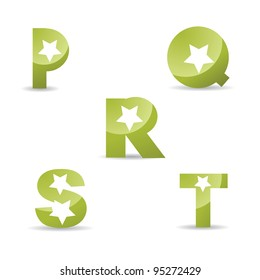Abstract Letter P Q R S T Logo Symbol Icon Set EPS 8 vector, grouped for easy editing. No open shapes or paths.