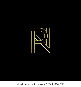 Abstract letter PN NP. Minimal logo design template. Vector letter logo with gold and black color.