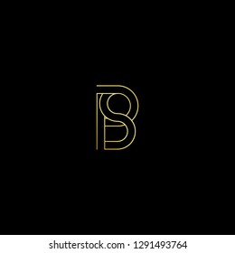 Abstract letter PS SP. Minimal logo design template. Vector letter logo with gold and black color.
