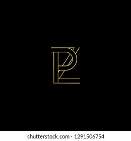 Abstract letter PZ ZP. Minimal logo design template. Vector letter logo with gold and black color.