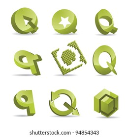 Abstract Letter Q icon symbol logo set EPS 8 vector, grouped for easy editing. No open shapes or paths.