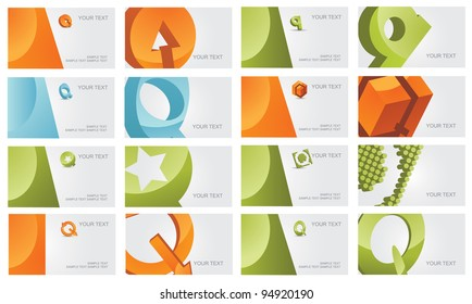 Abstract Letter Q icon symbol logo business card set EPS 8 vector, grouped for easy editing. No open shapes or paths.