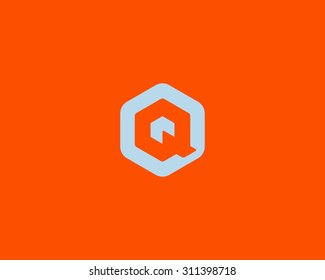 Abstract letter A Q logo design template. Colorful creative hexagon sign. Universal vector icon.