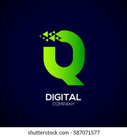 Abstract Letter Q Pixel logo with Triangle Shape, Green Arrow Fly Forward Signs, Media Play Symbols, Technology and Digital Connection concept for your Corporate identity Business company
