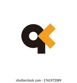 abstract letter qk simple arrow colorful target symbol vector