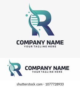 Abstract Letter R and Dna Vector Logo