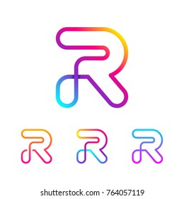 Abstract Letter R Line Monogram Colorful loops logotype, Circle shape, swirl spiral infinity logo symbol, Technology and digital connection