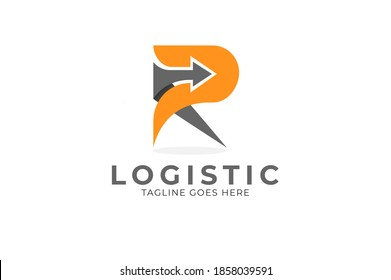 Abstract Letter R Logistic Logo, Letter R and arrow combination ,usable for logistic  and business logos, flat design logo template, vector illustration