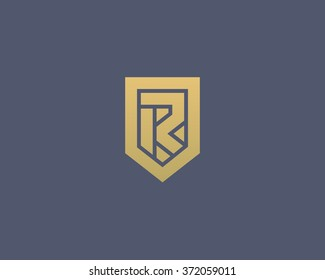 Abstract letter R shield logo design template. Premium nominal monogram business sign. Universal foundation vector icon.