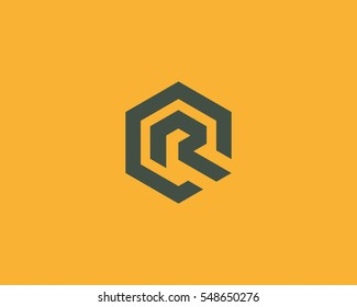 Abstract letter R vector logotype. Line hexagon creative simple logo design template.  Universal geometric symbol font icon.