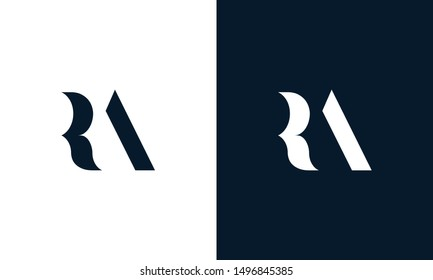 Abstract letter RA logo. This logo icon incorporate with abstract shape in the creative way. Its look like letter R and A.