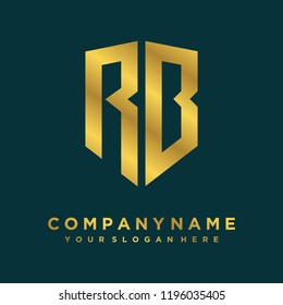 Abstract letter RB shield logo design template