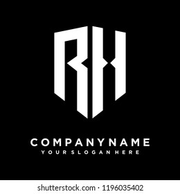 Abstract letter RH shield logo design template